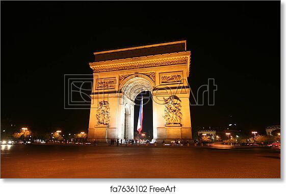 free art print of arc de triomphe at night arc de triomphe with