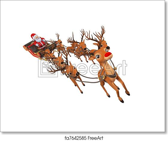 free art print of santa with his sleigh 3d rendered illustration of
