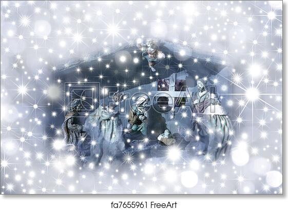 Free Art Print Of Christmas Card Nativity Scene