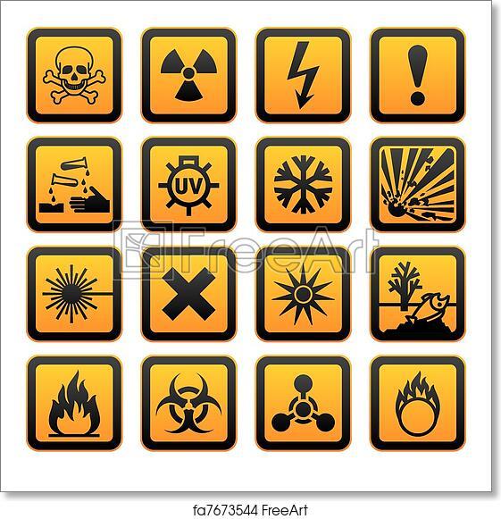 Free Art Print Of Hazard Symbols Orange Vectors Sign Hazard Symbols