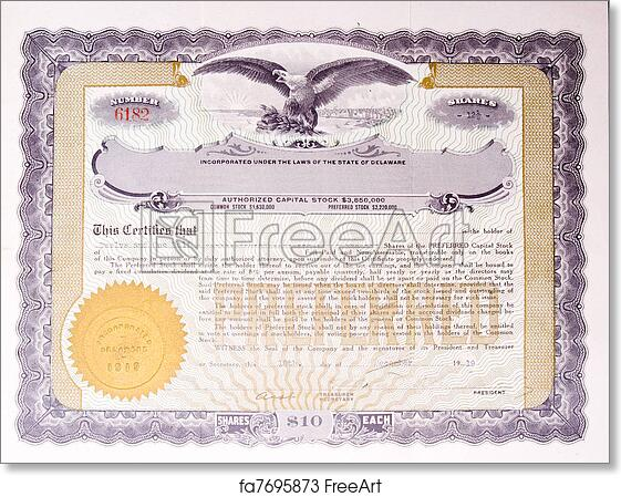 4d2a4360cd104 Free art print of Old US Stock Certificate Eagle Medallion American. U. S.  Stock certificate issued in 1919. | FreeArt | fa7695873