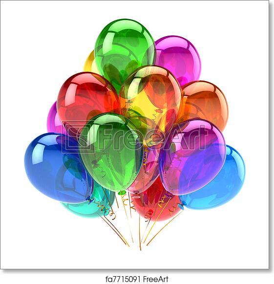 Party Balloons Happy Birthday Decoration Rainbow Multicolor Translucent Holiday Anniversary Retirement Graduation Celebrate Concept Fun Joy Abstract