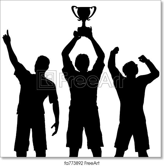 Free art print of trophy winners celebrate sports victory silhouettes of three team players win - Celebrating home designer login ...