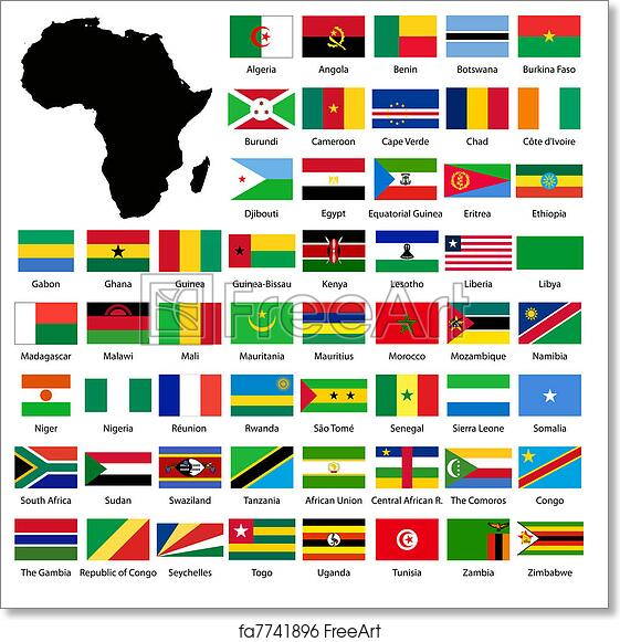 image relating to Printable Flags referred to as Free of charge artwork print of African flags
