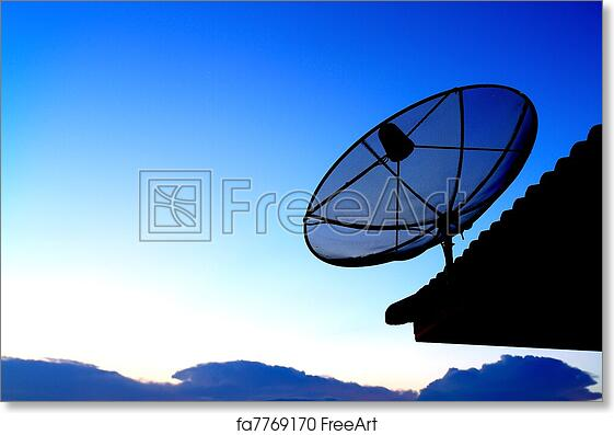 Free art print of Satellite TV with sunset sky
