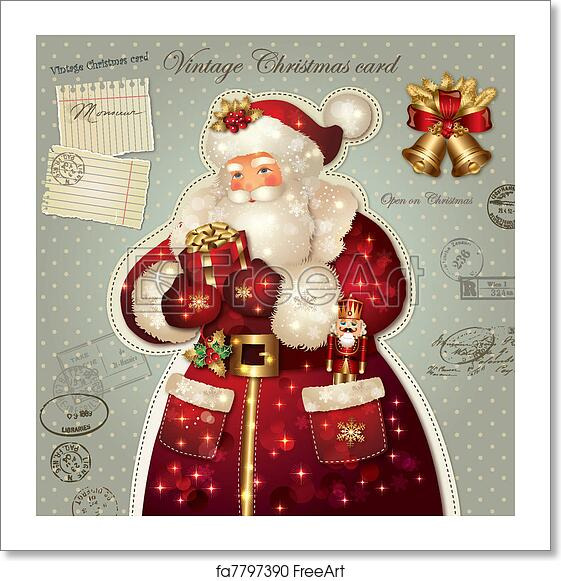 Christmas Card Images Free.Free Art Print Of Christmas Card With Santa Claus
