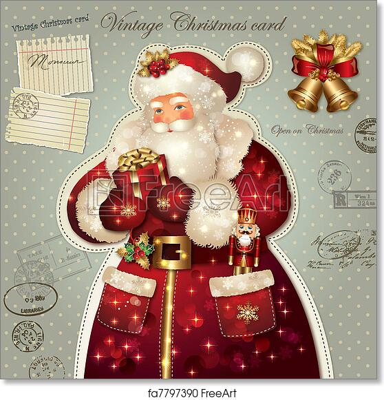 Free Art Print Of Christmas Card With Santa Claus Vintage Holiday