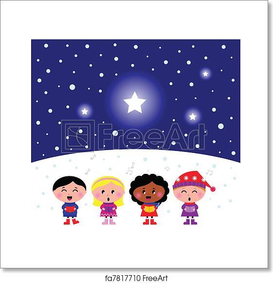 6d56533fe2ce7 Free art print of Cute multicultural Kids singing Christmas Carol ...
