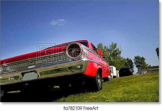 Free Art Print Of Tail Lamp Of Muscle Car Wide Angle Shot Of Red