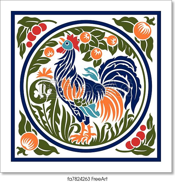 Free Art Print Of Rooster Earth Element Symbol A Stylized Rooster