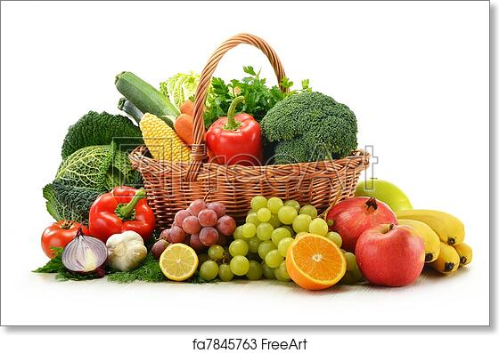 BASKET OF FRUITS AND VEGETABLES CANVAS PRINT PICTURE WALL ART FREE FAST POSTAGE