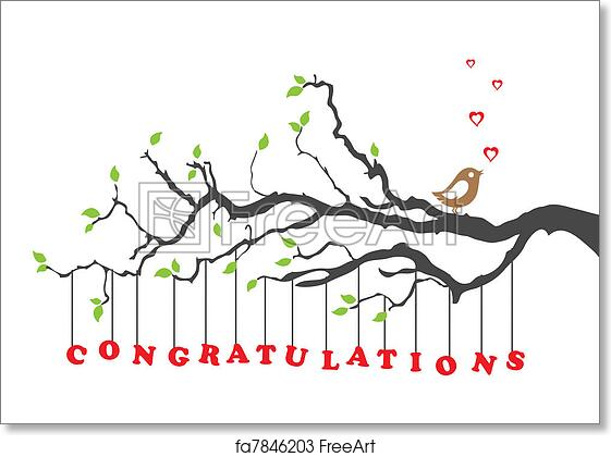 photo relating to Printable Congratulations Card identified as Totally free artwork print of Congratulations card with fowl