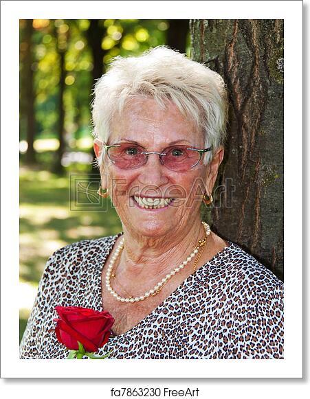 Free older women Free Art Print Of Older Women Senior Citizen Happy Elderly Senior Citizen Holding A Red Rose Freeart Fa7863230