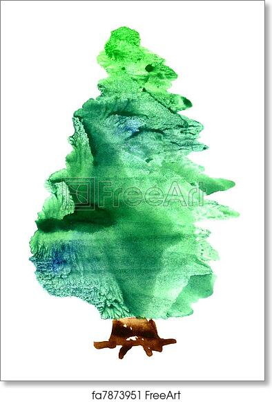 Christmas Tree White Background.Free Art Print Of Watercolor Christmas Tree