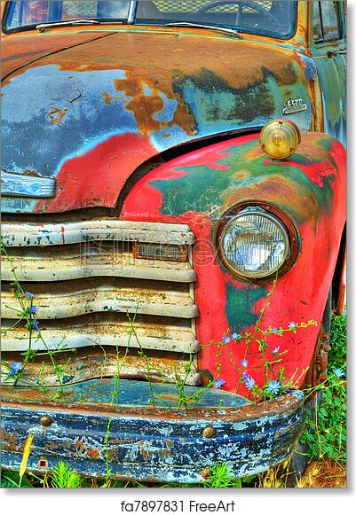 16x20 Vintage Truck Wall Decor Picture Freightliner Blue Diesel Old Classic Art Print Poster