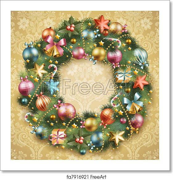 Christmas Wreath Images Free.Free Art Print Of Christmas Wreath With Baubles