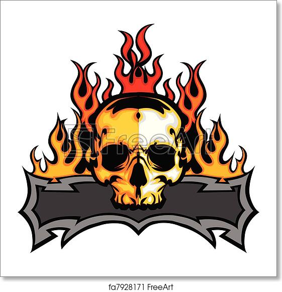 free art print of skull template with flames vector i graphic skull