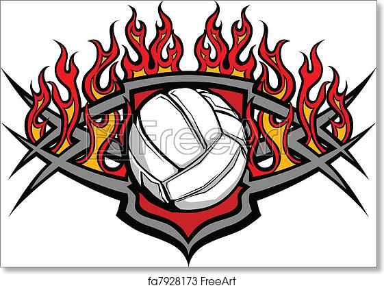 image relating to Volleyball Template Printable titled Absolutely free artwork print of Volleyball Ball Template with Flame