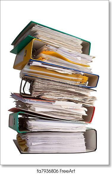 free art print of the pile of file binder with papers pile of file
