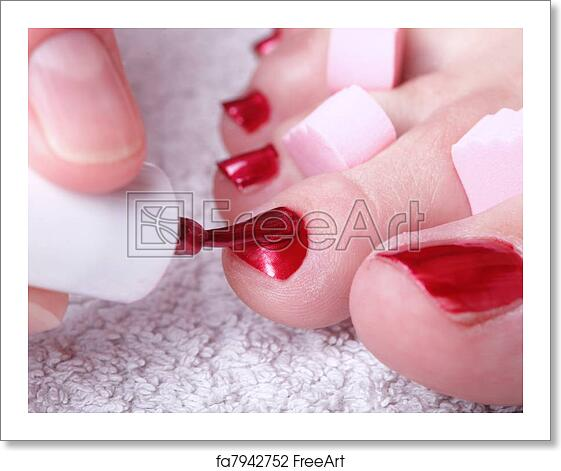 Free Art Print Of Female Feet Red Polished Nails Close Up Of Female