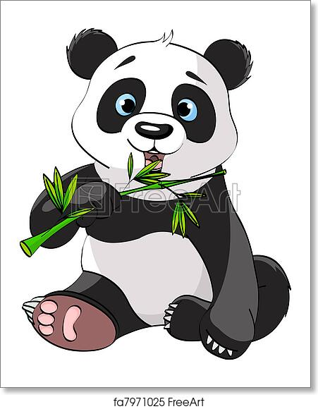 free art print of panda eating bamboo baby panda sitting and