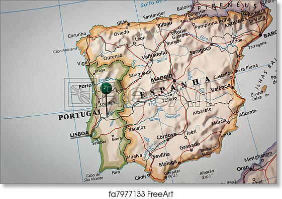 Free Art Print Of Iberian Peninsula Map Closeup Of A Mark