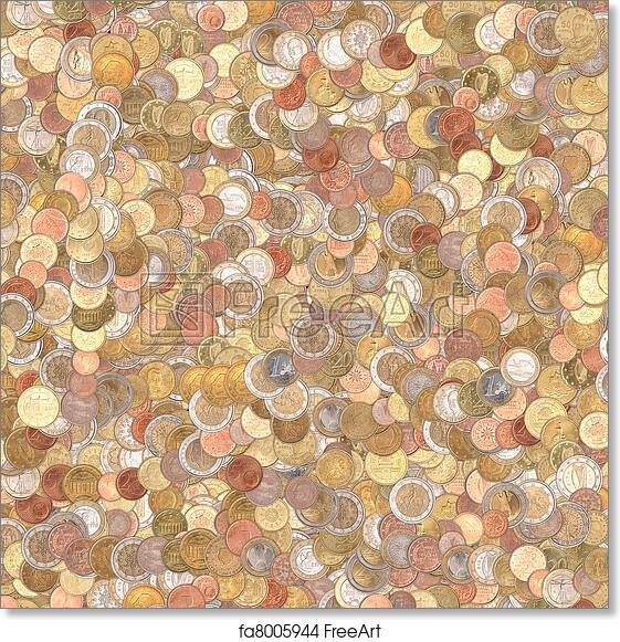 Free art print of Euro coins background