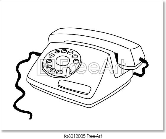 Free art print of Telephone drawing on white background