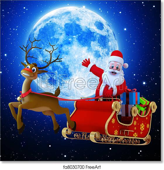 free art print of santa with his sleigh santa with his sleigh and