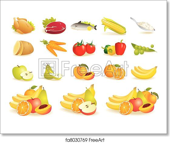 Free art print of Fruit, vegetables, meat, corn icons
