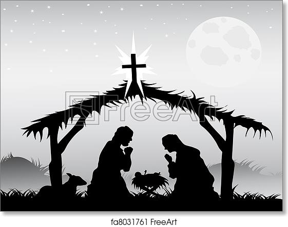 photo about Free Printable Silhouette of Nativity Scene titled Cost-free artwork print of Nativity scene, vector