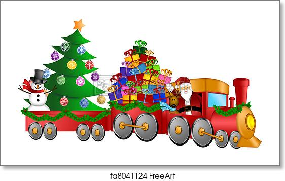 Christmas Tree Train.Free Art Print Of Santa Reindeer Snowman In Train With Gifts And Christmas Tree