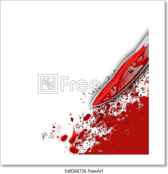 Bottom Right Corner Illustration Of A Murder Scene With Bright Red Bloody Knife And Blood Splatter Against White Background Concept For Violence
