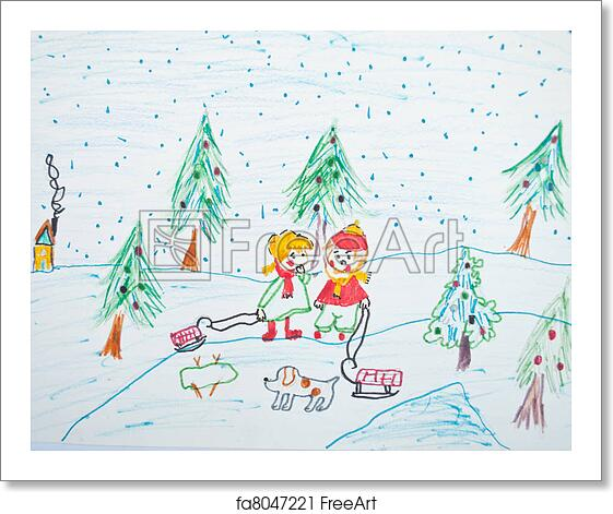 Christmas Scene Drawing.Free Art Print Of Child S Painting Of Christmas Scene