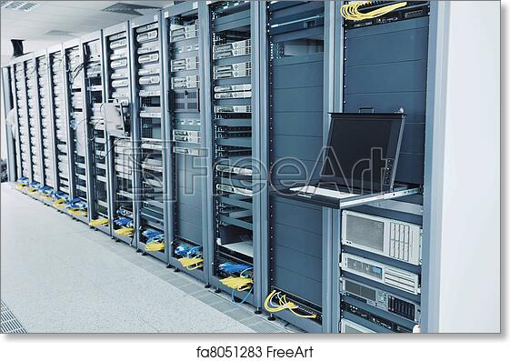 free art print of network server room network server room with