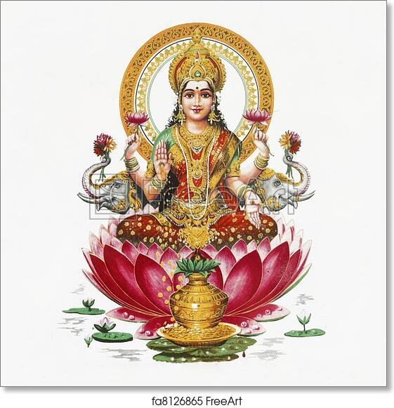 Free Art Print Of Lakshmi Hindu Goddess Lakshmi Hindu Goddess Of Wealth Prosperity Light Wisdom Fortune And Fertility Sitting On Flower Of Red Lotus India Asia Freeart Fa8126865