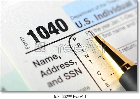 Free Art Print Of Us Income Tax Return Form 1040 Us Individual