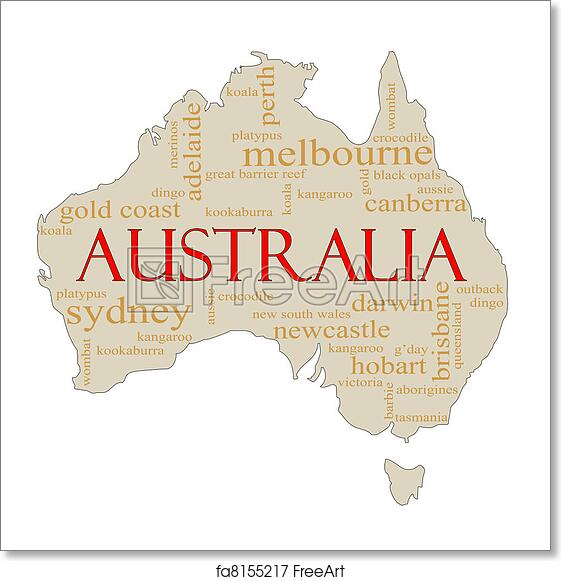 Australia Map Canberra.Free Art Print Of Australia Word Cloud Map