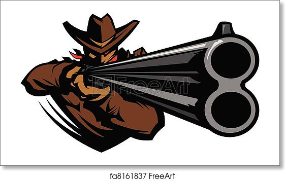 Free art print of Cowboy Mascot Aiming Shotgun Vector ...