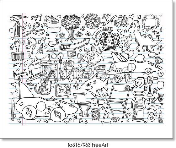 free art print of notebook doodle design elements notebook doodle