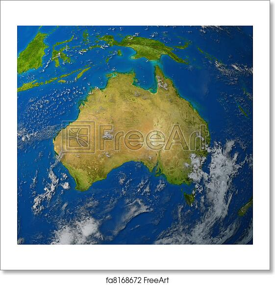 Free art print of australia map australia realistic map of the free art print of australia map gumiabroncs Image collections