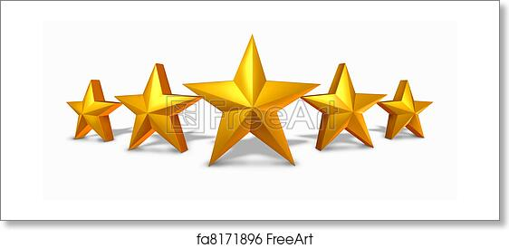 Free art print of Gold star rating with five golden stars ...