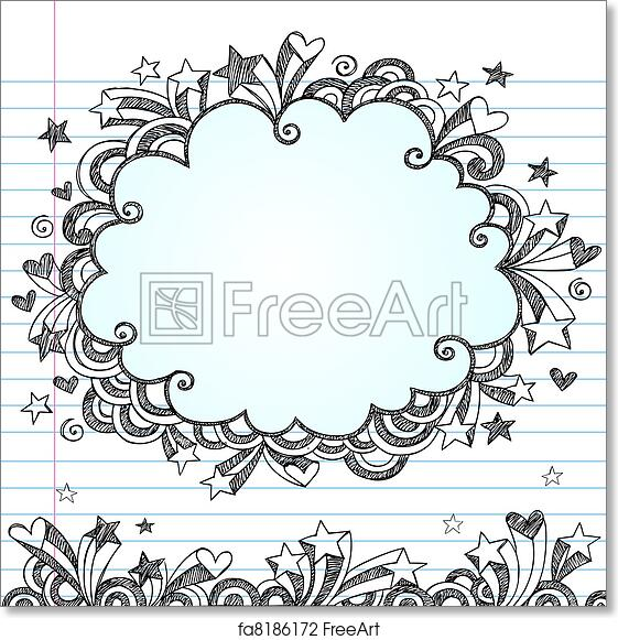 Free art print of Sketchy Cloud Doodle Vector Frame