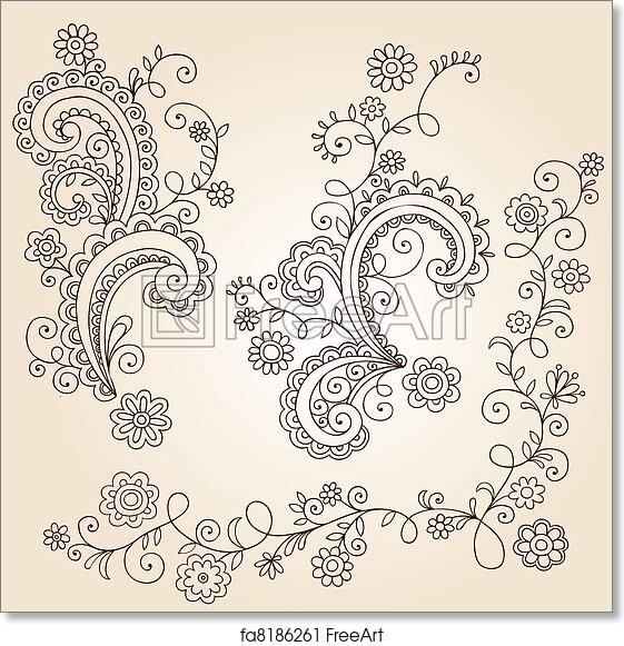 Free Art Print Of Henna Flower Vines Doodle Vector Hand Drawn