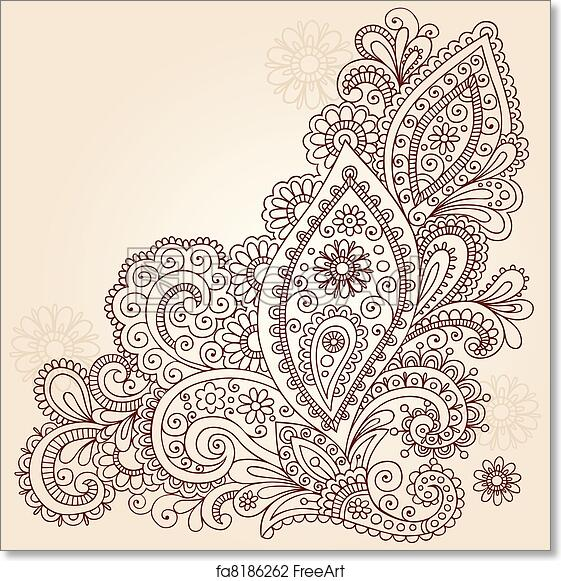 Free Art Print Of Abstract Henna Doodle Vector Design Hand Drawn