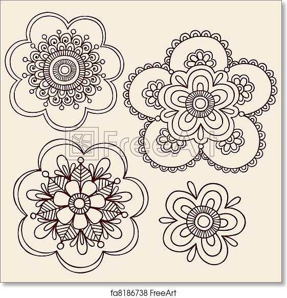 Free Art Print Of Henna Flower Doodle Vector Designs Henna Mendhi