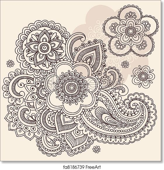 Free Art Print Of Henna Flower Paisley Doodle Vector Hand Drawn