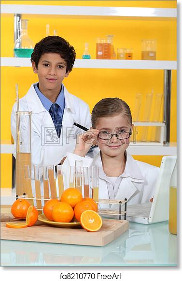 Free art print of Children doing chemistry experiments with orange juice