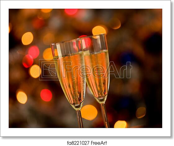 Free Art Print Of Champagne On Glass Table With Bokeh Background