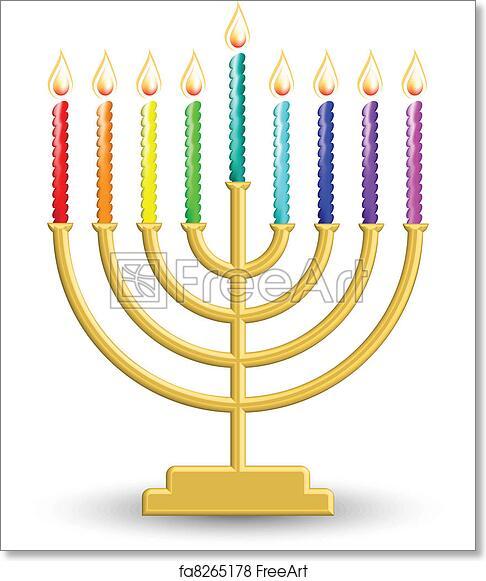 Free art print of Hanukkah lamp. Vector illustration of gold ...